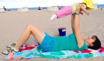 baby workout at the beach