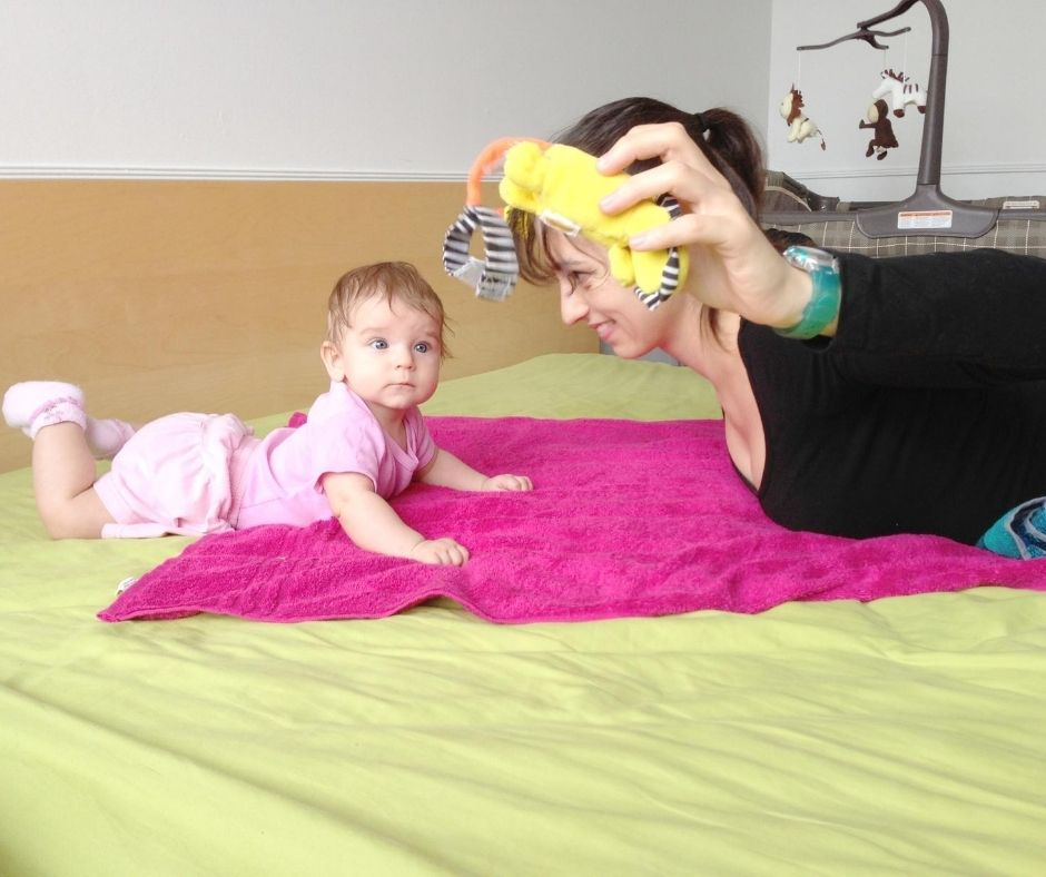 baby workout with toy